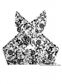 "Foulard Cheveux Vintage Pin-Up Années 50 Rock Ange'Hell ""Black Flowers"" - rockangehell.com"
