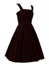 "Robe Pin-Up Rockabilly Rock Ange'Hell ""Anna Black Red mini dots"" - rockangehell.com"