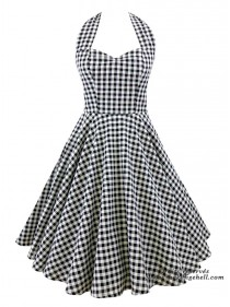 "Robe Pin-Up Retro Rockabilly Rock Ange'Hell ""Vivien Grey Vichy"" - rockangehell.com"