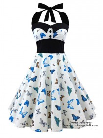 "Robe Pin-Up Rockabilly Années 50 Papillon Rock Ange'Hell ""Ashley Blue Butterfly"" - rockangehell.com"