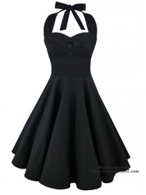 "Robe Rockabilly Rock Gothique Rock Ange'Hell ""Ashley Just Black"" - rockangehell.com"