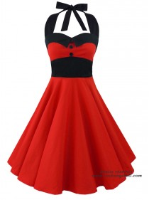"Robe Rockabilly Rock Gothique Rock Ange'Hell ""Ashley Just Red"" - rockangehell.com"