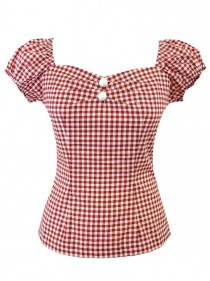"Tee-shirt Vintage Rockabilly Années 50 Rock Ange'Hell ""Dolores Red Vichy"" - rockangehell.com"