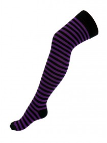 Chaussettes Hautes punk rock fines rayures noir/violet