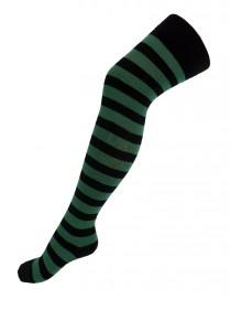 Chaussettes Hautes punk rock larges rayures noir/vert