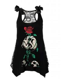 """Débardeur Rock Gothique Jawbreaker """"Reborn Skull & Roses"""" - rockangehell.com"""