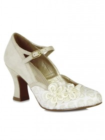 """Chaussures Escarpins Mariage Soirée Retro Vintage Rockabilly Ruby Shoo """"Amelia Cream"""" - rockangehell.com"""
