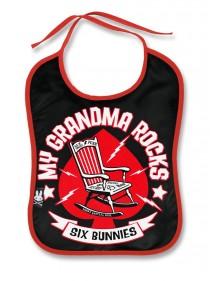 "Bavoir Rock Métal Six Bunnies ""Grandma Rocks"""