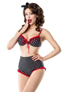 "Maillot de bain 2 pièces Bikini Rockabilly Vintage Retro Pin-Up Belsira ""White Dots"""