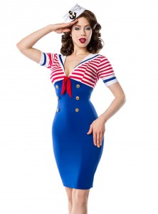 "Robe Sailor Marin Pin-Up Rockabilly Belsira ""Pencil Navy"" - rockangehell.com"
