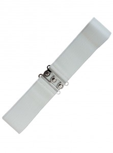 "Ceinture Blanche Rockabilly Vintage Retro Pin-Up Banned ""Just White"""