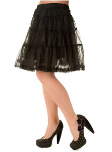 "Jupon Rockabilly Gothique Retro Banned 52 cm ""Petticoat Black"""