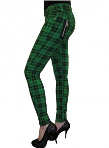 "Pantalon slim écossais vert Punk Rock Banned ""Green Tartan"""