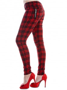 "Pantalon slim écossais rouge Punk Rock Banned ""Red Tartan"""