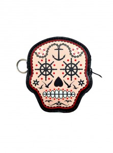 "Porte-monnaie Rockabilly Gothique Banned ""Sugar Skull"""