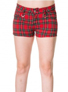 "Short Ecossais Rouge Punk Rock Banned ""Red Tartan"""