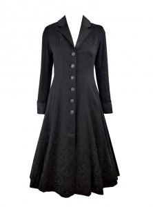 "Manteau Gothique Lolita Rockabilly Chicstar ""Black Brocade Amber""- rockangehell.com"