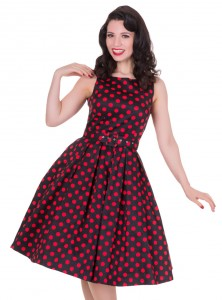 """Robe mi-longue Pin-Up Rockabilly Vintage Dolly And Dotty """"Annie Black Big Red Dot"""""""