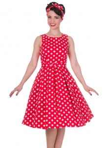 """Robe mi-longue Vintage Pin-Up Rockabilly Dolly And Dotty """"Annie Red Big White Dot"""" - rockangehell.com"""