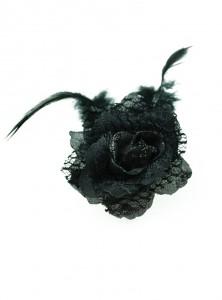 "Barrette Broche gothique rockabilly Poizen Industries (Evil Clothing) ""Flower"""