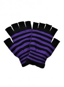 """Mitaines à rayures violettes et noires rock punk Poizen Industries """"Purple Stripes"""""""