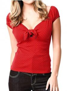 "Tee-shirt Rockabilly Vintage Hell Bunny ""Cilla Red"""