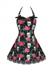 "Robe courte Rockabilly Gothique HR London ""Skully Pink Roses"""