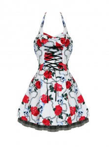 "Robe courte Rockabilly Gothique HR London ""Skully Red Roses"""