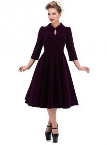 """Robe Velours Rockabilly Gothique HR London """"Purple Velvet Glamour"""""""