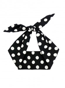 "Foulard Cheveux Rockabilly Vintage Retro Rock Ange'Hell ""Black Big White Dots"" - rockangehell.com"