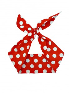 "Foulard Cheveux Pin-Up Rockabilly Retro Rock Ange'Hell ""Red Big White Dots"" - rockangehell.com"