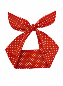 "Foulard Cheveux Pin-Up Rockabilly Retro Rock Ange'Hell ""Red Small White Dots"" - rockangehell.com"