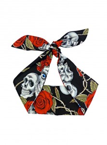"Foulard Cheveux Rock Gothique Rock Ange'Hell ""Skull & Roses"" - rockangehell.com"