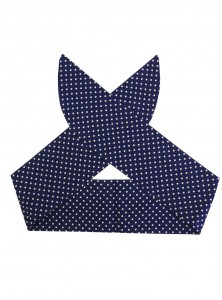 "Foulard Cheveux Pin-Up Rockabilly Retro Rock Ange'Hell ""Blue Small White Dots"" - rockangehell.com"