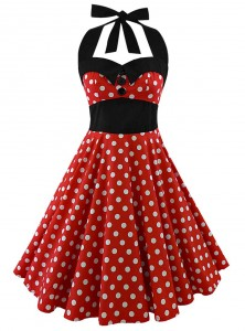 "Robe Pin-Up Rockabilly Vintage Rock Ange'Hell ""Ashley Red White Big Dots"" - rockangehell.com"
