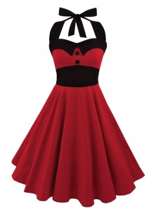 "Foulard Cheveux Pin-Up Rockabilly Retro Rock Ange'Hell ""Red Mini Black Dots"" - rockangehell.com"