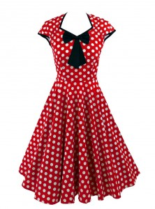 "Robe Pin-Up Rockabilly Retro Rock Ange'Hell ""Emma Red White Big Dots"" - rockangehell.com"