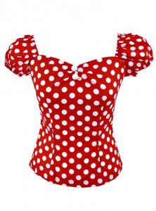"Tee-shirt Pin-Up Rockabilly Retro Rock Ange'Hell ""Dolores Red Big White Dots"" - rockangehell.com"