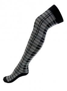 """Chaussettes montantes punk écossaises Macahel """"Grey Tartan"""""""