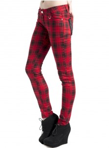 "Pantalon slim écossais rouge punk rock Jawbreaker ""Red Tartan"""