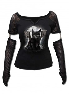 "Tee-shirt gothique dark wear manches longues Spiral ""Bat Cat"""