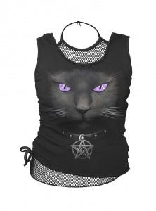 "Débardeur gothique dark wear Spiral ""Black Cat"""