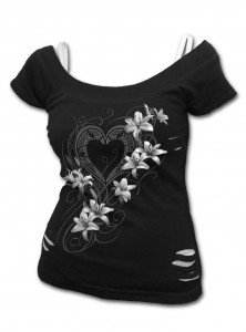 "Débardeur 2 en 1 Gothique Dark Wear Spiral ""Pure Of Heart"" - rockangehell.com"