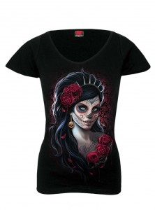 "Tee-Shirt Gothique Dark Wear Spiral ""Day Of The Dead"" - rockangehell.com"