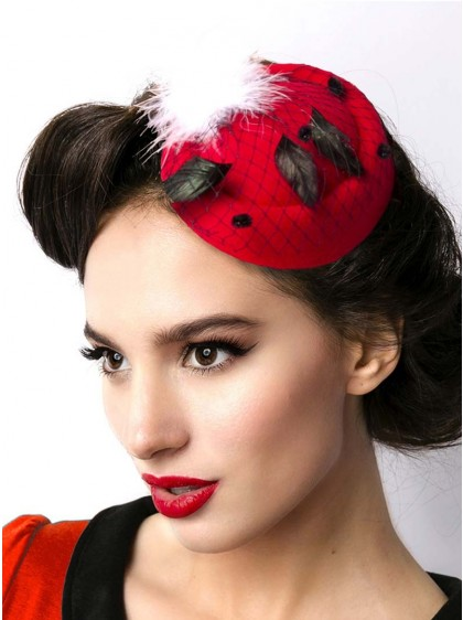 "Barrette Cheveux Chapeau Rockabilly Retro ""Red Hat"" - rockangehell.com"