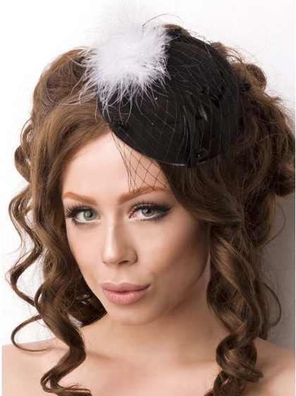 "Barrette Cheveux Chapeau Vintage Rockabilly Retro ""Black Feather Hat"" - rockangehell.com"