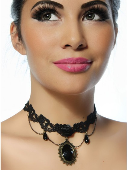 Collier ras du cou Gothique Lolita Black Rose - rockangehell.com