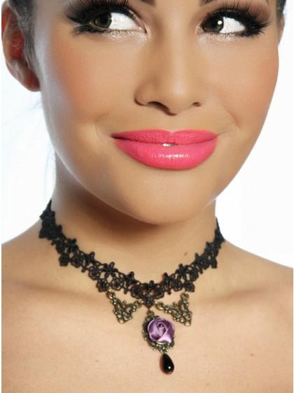 Collier ras du cou Gothique Lolita Purple Rose - rockangehell.com