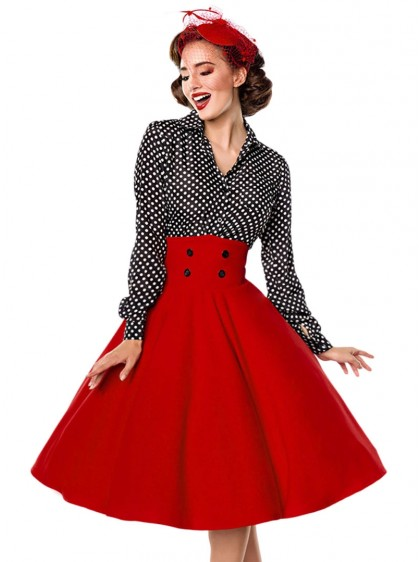 "Jupe Années 50 Pin-Up Rockabilly Retro Belsira ""Bella Red"" - rockangehell.com"