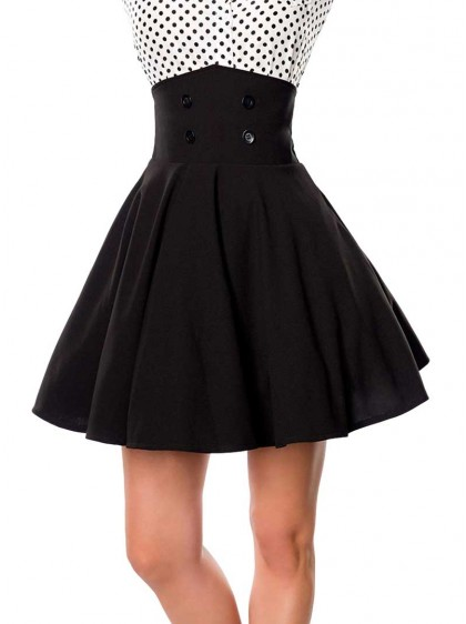 "Jupe Pin-Up Rockabilly Retro Belsira ""Bella Mini Black"" - rockangehell.com"